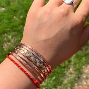 Jewelry - Braided copper, silver, and cold colored bracelet